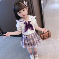 suit Other / other Blue, purple 90cm,100cm,110cm,120cm,130cm female summer Korean version Short sleeve + skirt 2 pieces routine There are models in the real shooting Socket lattice cotton Class A Chinese Mainland