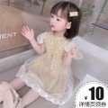Dress female Other / other 90cm,100cm,110cm,120cm,130cm Other 100% summer Korean version Short sleeve Broken flowers cotton Pleats 12 months, 6 months, 9 months, 18 months, 2 years old, 3 years old, 4 years old, 5 years old, 6 years old, 7 years old, 8 years old Chinese Mainland Zhejiang Province