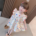 Dress white female Other / other 90cm,100cm,110cm,120cm,130cm Other 100% summer princess Short sleeve cotton Pleats 3 months, 12 months, 6 months, 9 months, 18 months, 2 years old, 3 years old, 4 years old, 5 years old, 6 years old, 7 years old, 8 years old Chinese Mainland