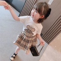 suit Other / other White, black 90cm,100cm,110cm,120cm,130cm female summer princess Short sleeve + skirt 2 pieces Thin money There are models in the real shooting Socket lattice cotton Chinese Mainland
