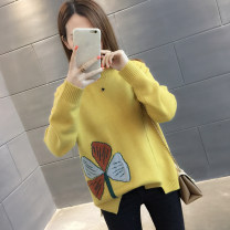 sweater Winter of 2019 S M L XL Beige yellow red black Long sleeves Socket singleton  Regular other 95% and above Crew neck thickening routine Straight cylinder Regular wool Keep warm and warm You've got to go Other 100% Pure e-commerce (online only)