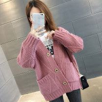 Wool knitwear Autumn of 2019 S M L XL Long sleeves singleton  Cardigan other More than 95% Regular routine commute easy V-neck routine Solid color Single breasted Korean version You've got to go Pocket button Other 100% Pure e-commerce (online only)