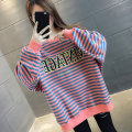 Sweater / sweater Autumn 2020 Pink Green White Brown S M L XL Long sleeves routine Socket singleton  routine Crew neck easy commute routine stripe 96% and above You've got to go Korean version other H00710 Cotton liner Other 100% Pure e-commerce (online only)