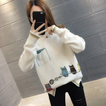 sweater Autumn of 2019 S M L XL Long sleeves Socket singleton  Regular other 95% and above Half high collar thickening commute routine Cartoon animation Straight cylinder Regular wool Keep warm and warm You've got to go pocket Other 100%