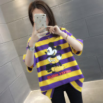 T-shirt Yellow + Purple Stripe Black + white stripe green + Orange Stripe pink + Blue Stripe S M L XL Spring of 2019 Short sleeve Crew neck easy Regular routine commute other 96% and above Korean version Cartoon animation You've got to go A00514 Other 100% Pure e-commerce (online only)