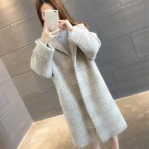 sweater Winter of 2019 S M L XL Long sleeves Cardigan singleton  Medium length other 95% and above Hood Regular routine lattice Straight cylinder Regular wool Keep warm and warm You've got to go pocket Other 100% Pure e-commerce (online only) A button