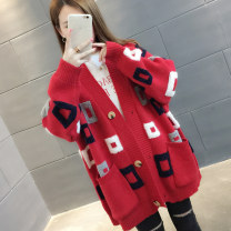 Wool knitwear Autumn of 2018 S M L XL Long sleeves singleton  Cardigan other More than 95% Medium length routine commute easy V-neck routine Single breasted Korean version You've got to go Other 100% Pure e-commerce (online only)