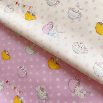 Fabric / fabric / handmade DIY fabric cotton [rabbit in the middle of bowl] pink 145 * 50cm, [rabbit in the middle of bowl] Beige 145 * 50cm Loose shear rice Cartoon animation printing and dyeing clothing Japan and South Korea HAYAM 100% Japan