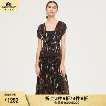 Dress Summer of 2019 Printed coffee S M Middle-skirt Sleeveless commute Socket camisole 25-29 years old iii viviniko J920638065E More than 95% polyester fiber Polyester 100% Same model in shopping mall (sold online and offline)