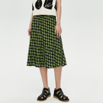 skirt Spring 2021 S M L Printed green Mid length dress commute Natural waist Broken flowers M110701112A More than 95% iii viviniko Viscose Simplicity Viscose (viscose) 100% Same model in shopping mall (sold online and offline)