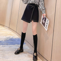 skirt Spring 2021 S M L XL White black Short skirt commute High waist A-line skirt Solid color 25-29 years old More than 95% Baabi Baaby other zipper Other 100% Pure e-commerce (online only)