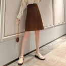 skirt Autumn 2020 S M L XL Caramel (detachable strap) longuette commute High waist A-line skirt Solid color 25-29 years old More than 95% Baabi Baaby other Button Other 100% Pure e-commerce (online only)