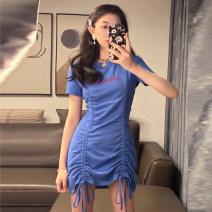 Dress Summer 2021 blue Average size singleton  Short sleeve commute Crew neck High waist Socket routine Korean version other other