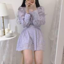 Fashion suit Summer 2020 S, M Off white top, purple top, off white skirt, purple skirt