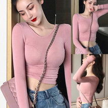T-shirt Cherry Powder Dark Pink Black Average size Autumn of 2018 Long sleeves Crew neck Self cultivation have cash less than that is registered in the accounts routine commute other 31% (inclusive) - 50% (inclusive) 18-24 years old Korean version Solid color