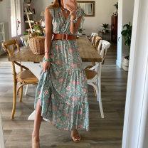 Dress Summer 2020 green S,M,L,XL longuette singleton  Sleeveless V-neck High waist Socket Big swing 25-29 years old FC959 81% (inclusive) - 90% (inclusive) polyester fiber