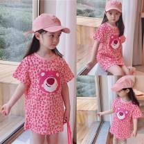 Outdoor casual clothes Tagkita / she and others children twenty-one point eight zero Pink, white T-shirt, collection plus purchase priority delivery Under 50 yuan 48,80,90,100,110,120,130,140 other Short sleeve summer High crew neck have more cash than can be accounted for