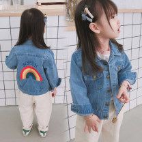 Plain coat Mo Mo Da female 7 (recommended height 95cm), 9 (recommended height 105cm), 11 (recommended height 110cm), 13 (recommended height 120cm), 15 (recommended height 130cm) Denim jacket (rainbow pattern is printed) spring and autumn Korean version Single breasted No model routine nothing Denim