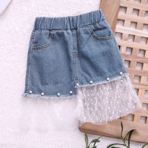 skirt 90cm,100cm,110cm,120cm,130cm,140cm,150cm,160cm,170cm blue Mo Mo Da female Cotton 95% polypropylene fiber 5% summer skirt Korean version Solid color A-line skirt cotton Class A