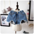 trousers Mo Mo Da female blue summer shorts leisure time There are models in the real shooting Jeans Leather belt middle-waisted Denim Don't open the crotch Cotton 100% Class B 2, 3, 4, 5, 6, 7, 8, 9, 10 years old