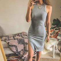 Dress Summer of 2019 Grey, black, army green, meat pink S,M,L Middle-skirt singleton  Sleeveless street Crew neck Solid color Socket One pace skirt other Others 25-29 years old 31% (inclusive) - 50% (inclusive) other cotton Europe and America
