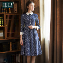 Dress Spring of 2019 Decor S M L XL XXL Mid length dress singleton  Long sleeves commute Doll Collar middle-waisted Decor zipper Big swing other Others 25-29 years old Type A WEMA / Weima lady Three dimensional decorative button 3D printing WL0108I 30% and below other nylon