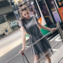 Dress Summer of 2018 White, dark grey, black XS,S,M,L Middle-skirt singleton  Short sleeve street Crew neck High waist Solid color Socket other routine Others 25-29 years old Type H Ziqing More than 95% brocade cotton Europe and America