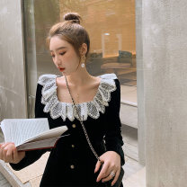 Dress Spring 2021 Black, black XS,S,M,L Middle-skirt singleton  Long sleeves commute square neck High waist Solid color Socket A-line skirt routine 18-24 years old Type A Ziqing Retro 71% (inclusive) - 80% (inclusive)