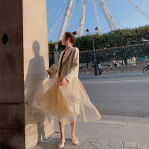 Dress Autumn of 2019 Apricot dress, apricot coat S,M,L Mid length dress Two piece set Long sleeves commute Polo collar High waist Dot Socket Big swing routine Others Type A Ziqing Korean version ZQ19354 51% (inclusive) - 70% (inclusive) other polyester fiber