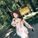 shirt Apricot XS,S,M,L Summer of 2019 silk 96% and above Long sleeves commute Regular Crew neck Socket shirt sleeve other 25-29 years old Straight cylinder Ziqing lady ZQ17138 Prints, bandages, buttons