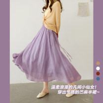 skirt Summer 2021 Average size Peacock blue, taro purple, vermilion, toffee, cream white Mid length dress commute Natural waist A-line skirt Solid color Type A Q3404 More than 95% The west is short hemp Stitching, folding, strapping literature