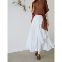 skirt Summer 2021 Average size Fashion white Mid length dress commute High waist A-line skirt Solid color Type A Q3421 31% (inclusive) - 50% (inclusive) other The west is short cotton Asymmetry, splicing literature