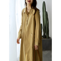 Dress Summer 2021 Khaki  M, L longuette singleton  Long sleeves commute Polo collar Loose waist Solid color Three buttons A-line skirt routine Others Type A The west is short literature Pockets, panels, buttons Q3406 More than 95% other cotton