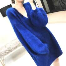 sweater Autumn 2020 Average size Long sleeves Socket singleton  Medium length other 30% and below V-neck thickening commute bishop sleeve Solid color Straight cylinder Keep warm and warm 18-24 years old Other / other