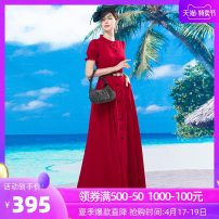 Dress Spring of 2019 Red long sleeve red short sleeve S M L XL 2XL 3XL 4XL longuette singleton  Long sleeves commute Half high collar middle-waisted Solid color Socket Pleated skirt Others 40-49 years old Tiffany Runchi Retro More than 95% polyester fiber Pure e-commerce (online only)