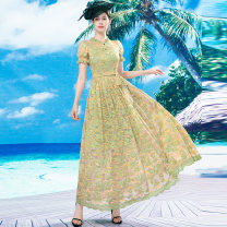 Dress Autumn 2020 S M L XL 2XL 3XL 4XL longuette singleton  Long sleeves commute Crew neck High waist Decor Socket Big swing other Others 40-49 years old Type A Tiffany Runchi Retro DZ1247 More than 95% Lace polyester fiber Polyethylene terephthalate (polyester) 100% Pure e-commerce (online only)