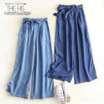Jeans Summer of 2018 Light blue, dark blue S,M,L,XL trousers High waist Wide legged trousers Thin money Other / other