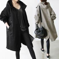 Women's large Autumn 2020 6872 black 3xl200-235kg, 4xl235-270kg, 5xl270-310kg Jacket / jacket singleton  commute moderate Socket Long sleeves Korean version Polyester, cotton Collage 25-29 years old
