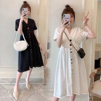 Women's large Summer 2020 8452 black 3xl140-170, 4xl170-200, 5xl200-235, 6xl235-270, 7xl270-310 Dress singleton  commute moderate Short sleeve Korean version Polyester, cotton 25-29 years old