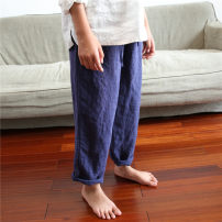 trousers Qiji neutral 100cm, 110cm, 120cm, 130cm, 140cm, 150cm, 160cm, mom M Navy Blue spring and autumn trousers leisure time There are models in the real shooting Casual pants Tether middle-waisted flax Don't open the crotch Flax 100% Class B