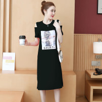 Dress Summer 2020 Black, fruit green, pink S,M,L,XL,2XL,3XL,4XL Mid length dress singleton  Short sleeve commute Crew neck Loose waist character Socket One pace skirt routine 18-24 years old Type H Korean version 81% (inclusive) - 90% (inclusive) cotton