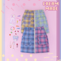 skirt Summer of 2019 M, l Pink and blue check color matching, yellow and green check color matching spot, pink and blue check spot cmc348