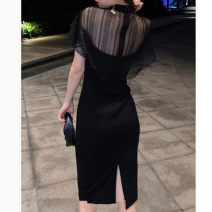 Women's large Summer 2021 black Dress singleton  commute Self cultivation moderate Socket Short sleeve Solid color Korean version Crew neck Medium length other Three dimensional cutting other Lace stitching 51% (inclusive) - 70% (inclusive) Medium length other Hollowing out