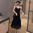 Dress Summer 2021 Black, white S,M,L,XL Mid length dress singleton  Sleeveless commute V-neck High waist other other A-line skirt other camisole Type A Simplicity Lace