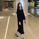 Dress Autumn of 2019 Blue collar with navy blue stitching, white collar with black stitching S,M,L,XL longuette singleton  Long sleeves commute Polo collar Loose waist other Single breasted Princess Dress routine Others Type H Korean version knitting
