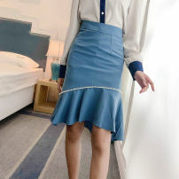 skirt Spring 2021 XL,L,M,S Blue, black, white Mid length dress commute High waist A-line skirt Type A 51% (inclusive) - 70% (inclusive) Nail bead Korean version