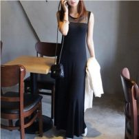 Dress Summer of 2018 Black modal XS,S,M,L,XL,XXL,XXXL longuette singleton  Sleeveless street Crew neck Elastic waist Solid color Socket A-line skirt routine straps 18-24 years old Type H Mr. Fu Flounce, hollowed out, open back, patching, splicing, asymmetry, wave, strap, net, lace knitting modal
