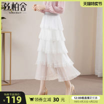 skirt Spring 2021 S M L XL White - spot white - pre sale Mid length dress grace High waist A-line skirt Solid color Type A 25-29 years old S11T0454B More than 95% Cypress house polyester fiber Polyester 100%