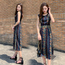 Dress Summer of 2019 Black red S M L XL XXL longuette singleton  Sleeveless commute Crew neck High waist Decor Socket A-line skirt routine Others 25-29 years old Type H Retro Stitched zipper print More than 95% Chiffon other Other 100% Same model in shopping mall (sold online and offline)