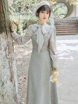 Dress Winter of 2019 Picture color suit S,M,L longuette Two piece set Long sleeves commute High waist Solid color Socket Big swing routine straps Other / other Retro bow 31% (inclusive) - 50% (inclusive)